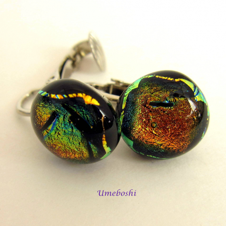 Handmade Dichroic Fused Glass Clip-on earrings