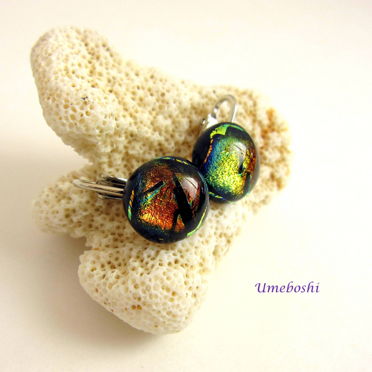 Color-shifting Dichroic Glass Clip Earrings