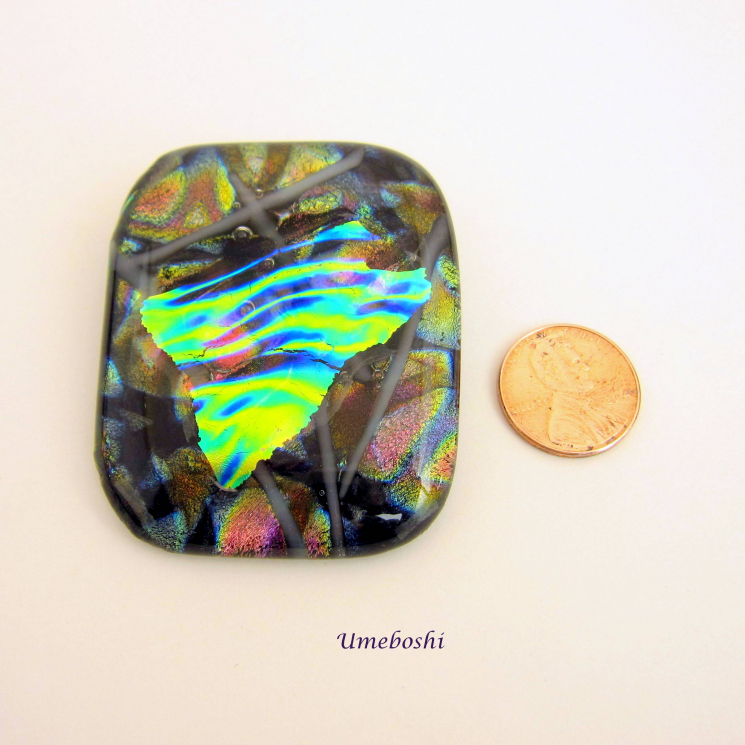 Handmade Dichroic Fused Glass Statement Brooch