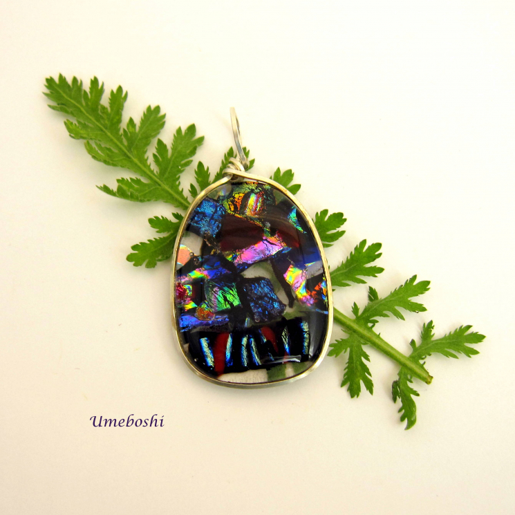 One-of-a-kind dichroic fused glass jewelry pendant