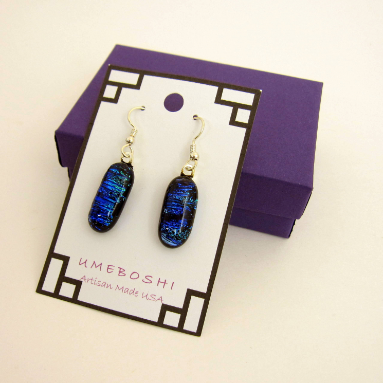 Deep Blue Dichroic Glass Earrings
