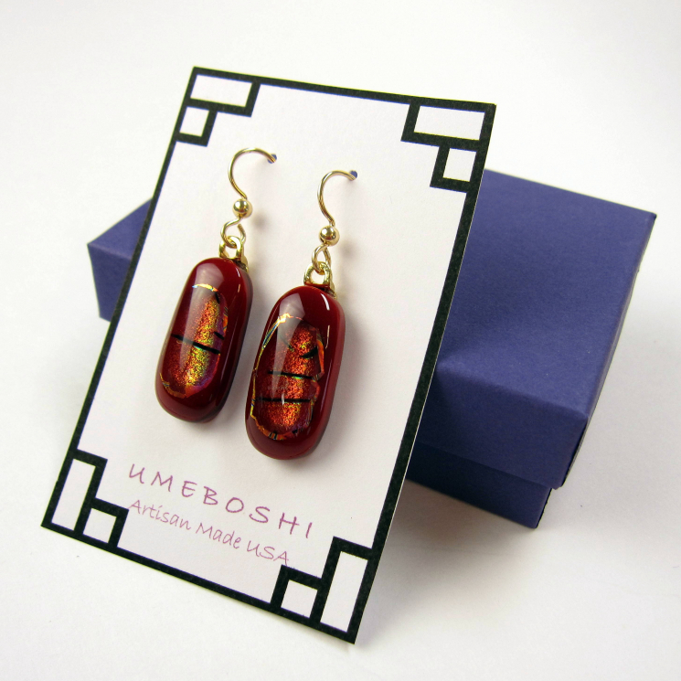 Red Tiger dichroic glass earrings