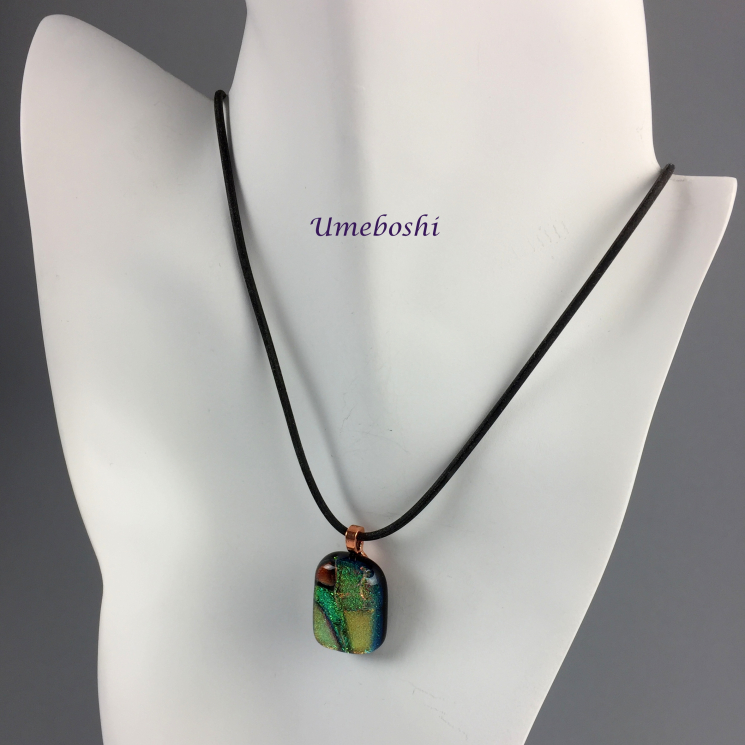 Fall colors dichroic glass necklace