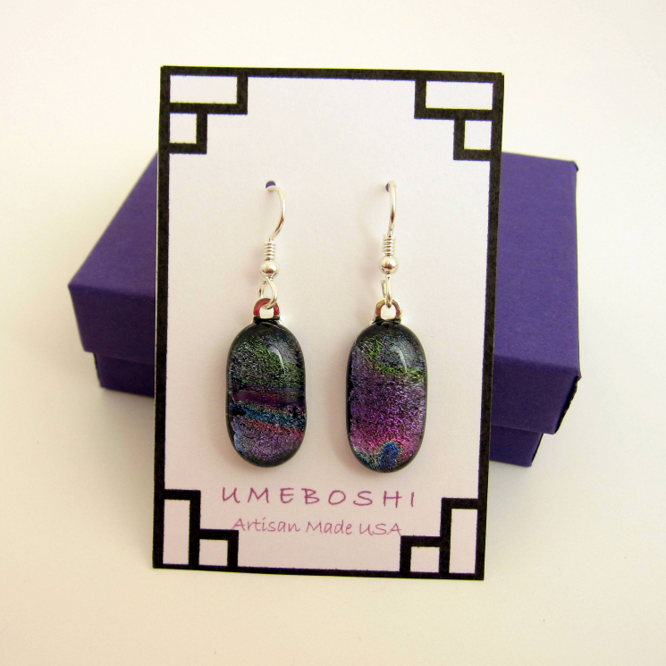 Dichroic glass multicolored dangle earrings