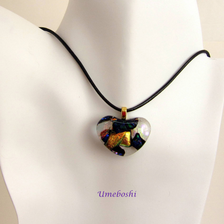 Multi-colored Dichroic Heart Pendant w Leather Neacklace