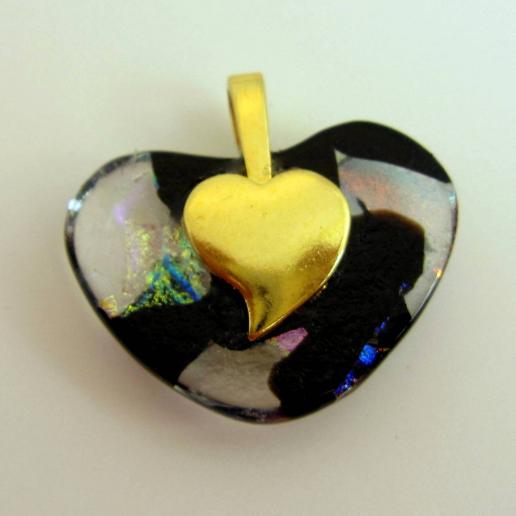 Back of Pendant with Gold Plated Heart Bail