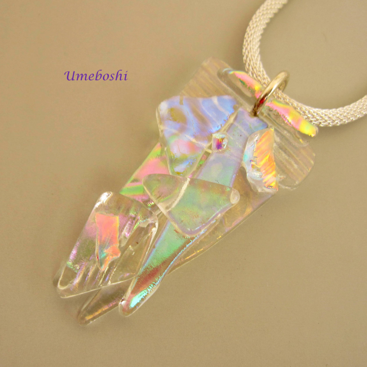 Handmade Dichroic multicolored pendant necklace
