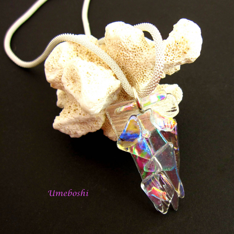 Handmade dichroic fused glass statement necklace