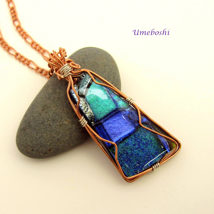 Blue Dichroic Glass Wire Wrapped Necklace