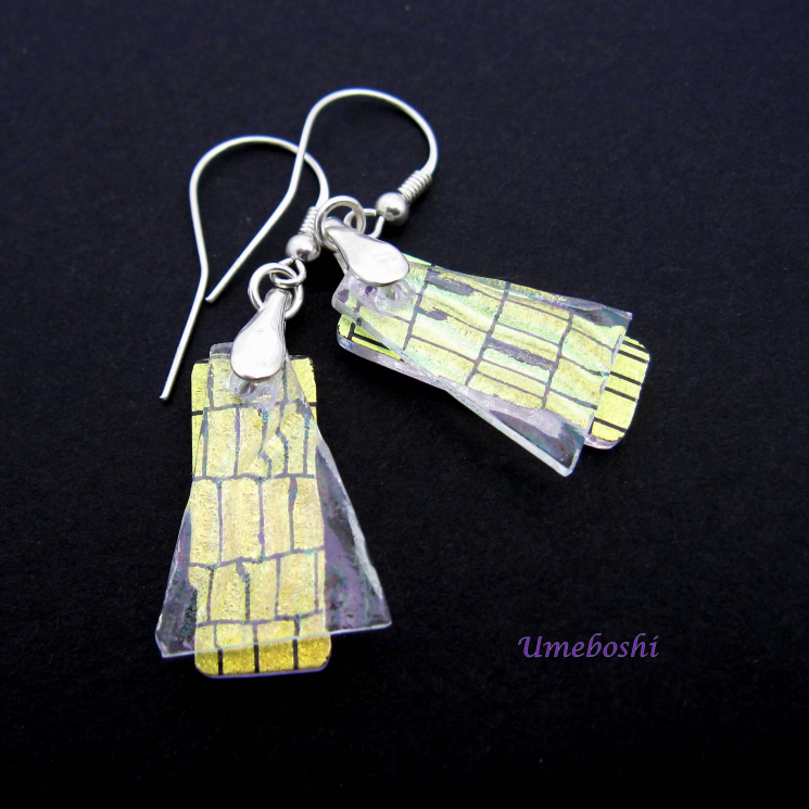 Dichroic Fused Glass Dangle Earrings