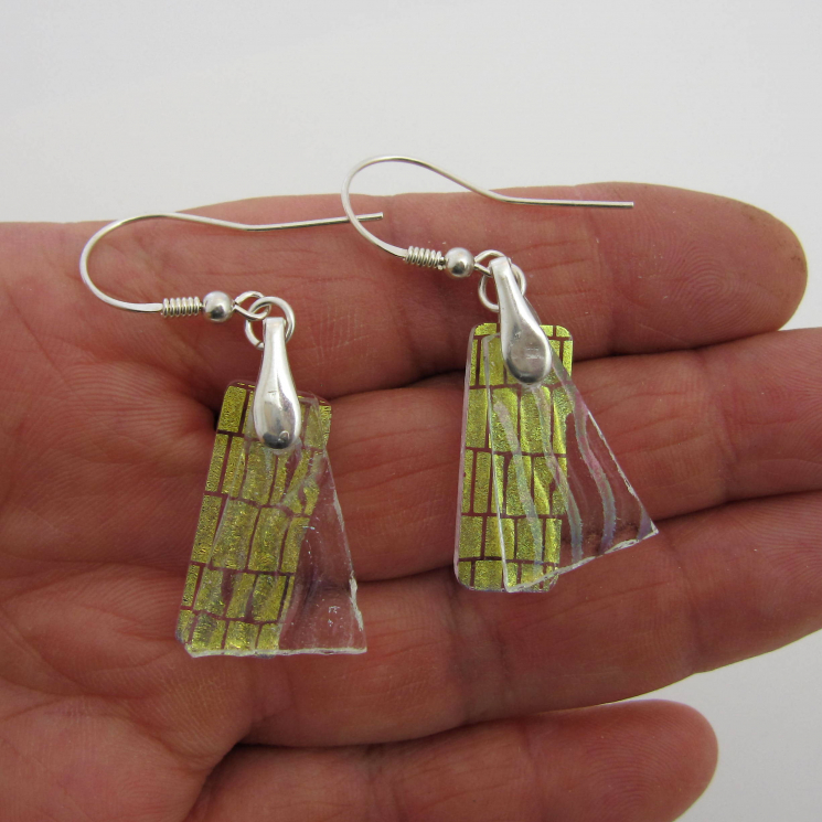Dichroic glass dangle earrings w 2 layers