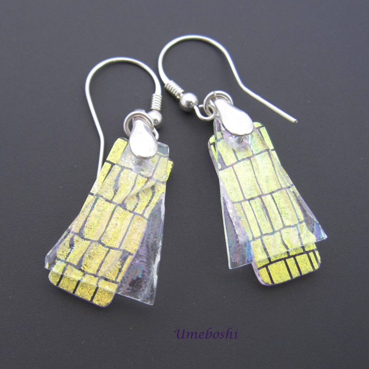 Unique Dichroic Glass Dangle Earrings
