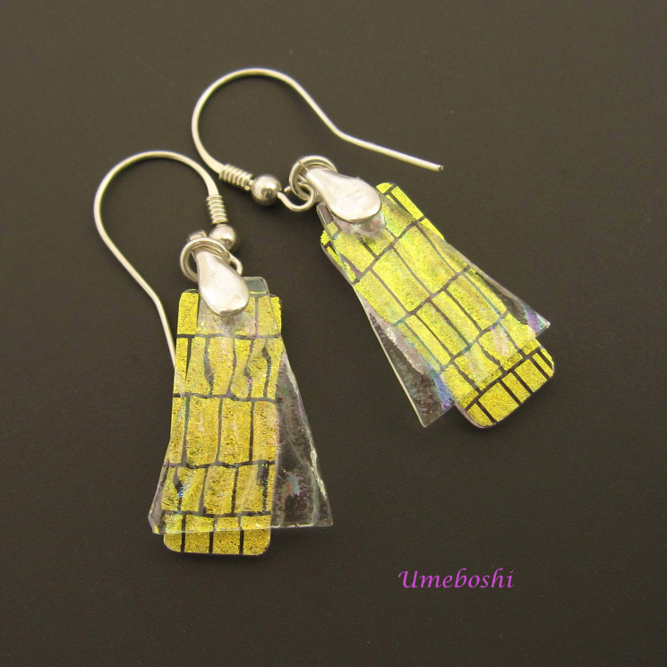 Layered Dichroic Glass Earrings by Umeboshi