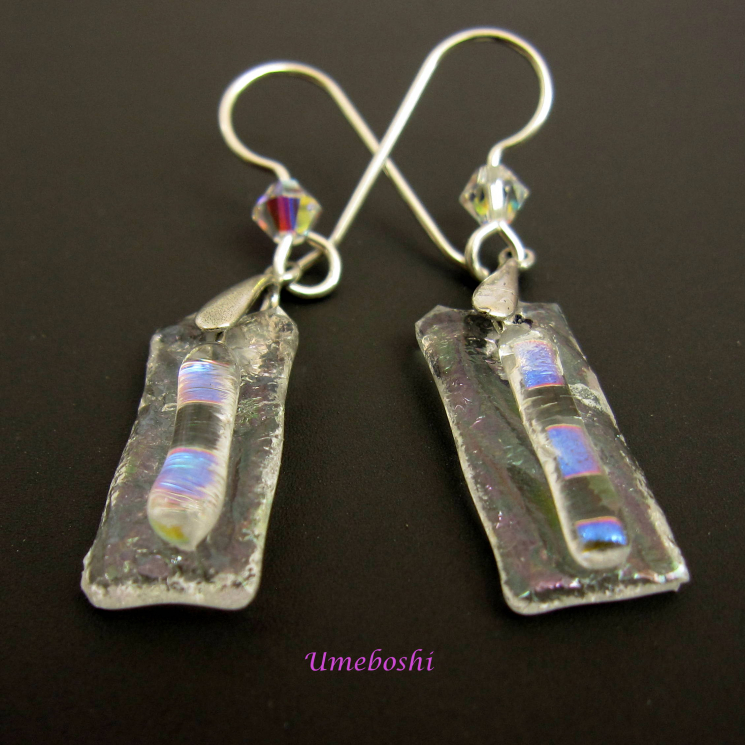 Icy Handmade Dichroic Fused Glass Dangle Earrings on Dark Background