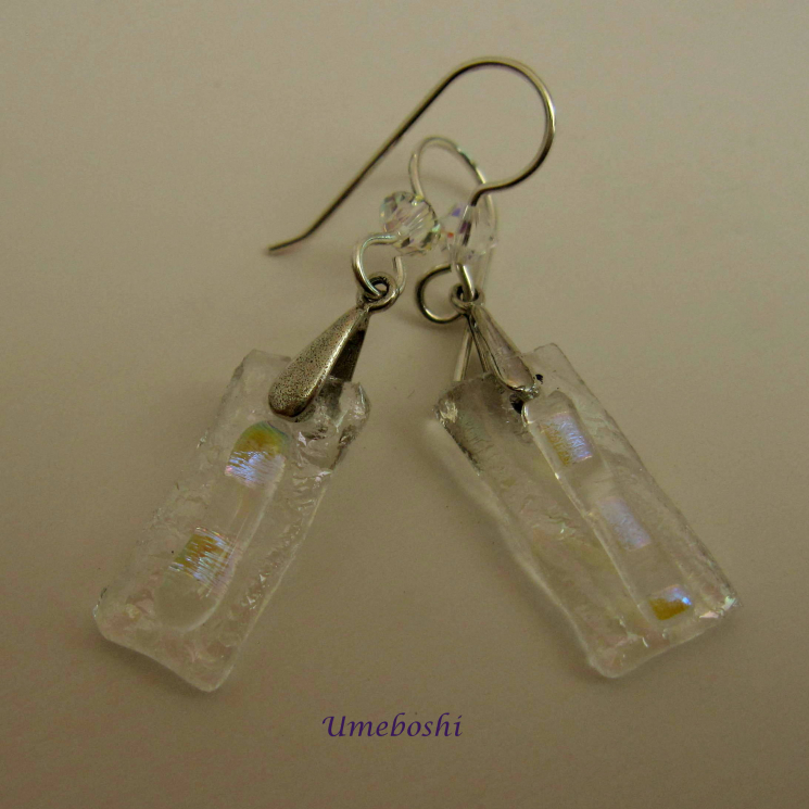 Icy Dangles Handmade Dichroic Glass Dangle Earrings w Iridescent Sparkling Glass