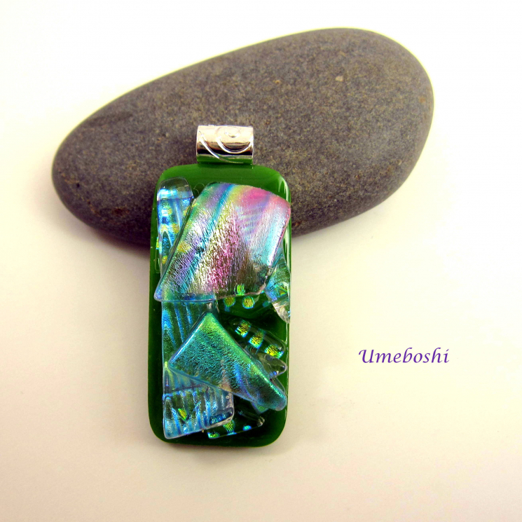 Handcrafted colorful dichroic glass jewelry pendant
