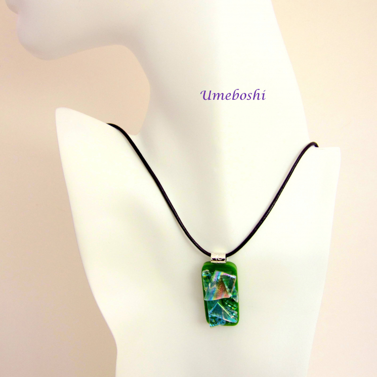 Handmade Dichroic Glass Pendant in Rainbow Colors