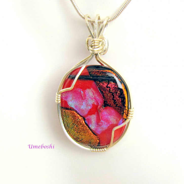 Argentium Sterling Silver Wire Wrapped Dichroic Pendant - Heart of Vulcan - Dich