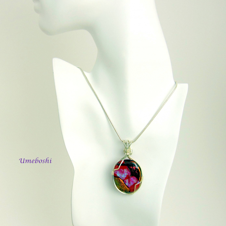 Handmade dichroic glass and argentium silver necklace