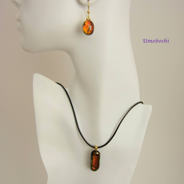Handmade dichroic glass amber jewelry set