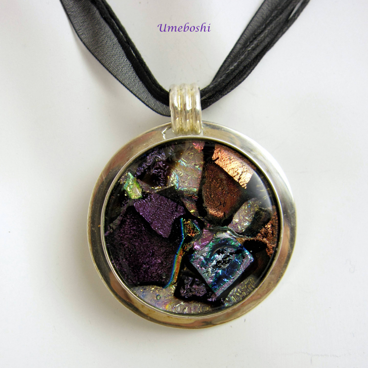 Large dichroic fused glass cabochon pendant