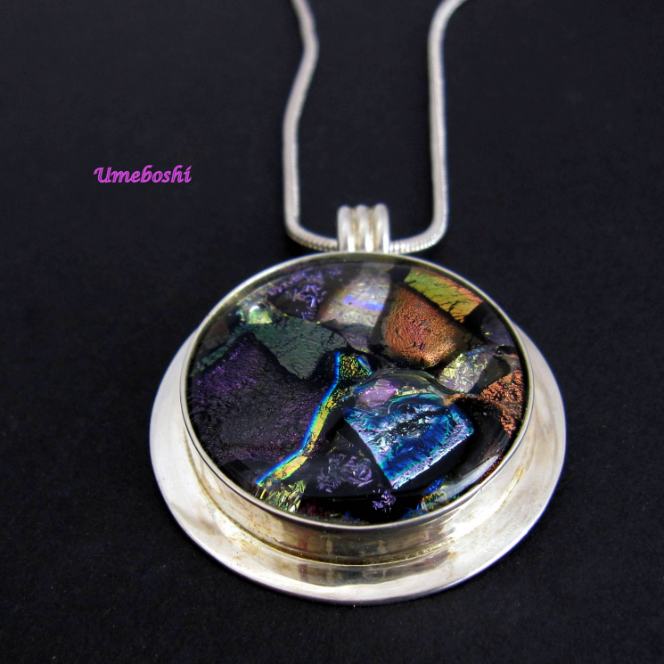One-of-a-kind dichroic glass necklace