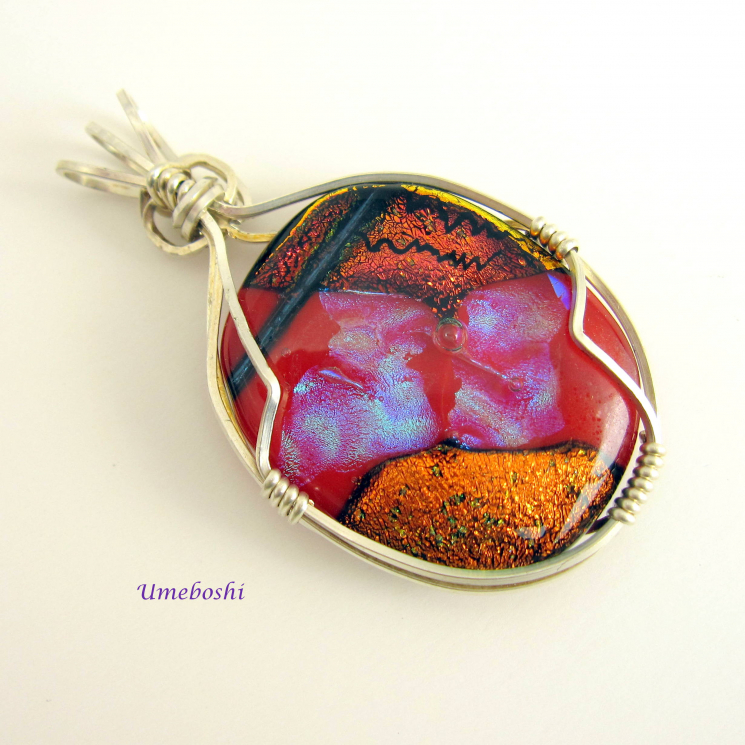 Handmade dichroic glass cabochon w silver wrapping