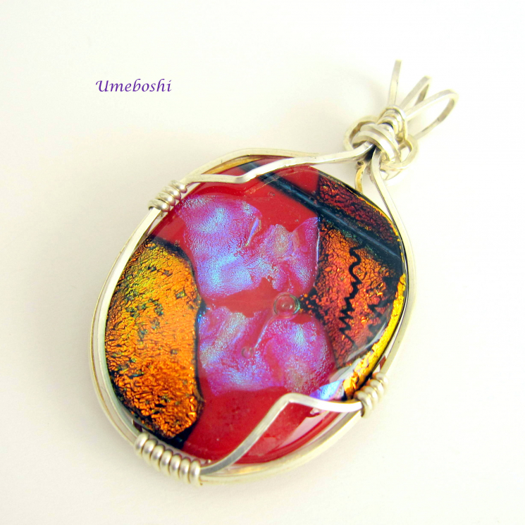 Argentium sterling silver wire wrapped pendant