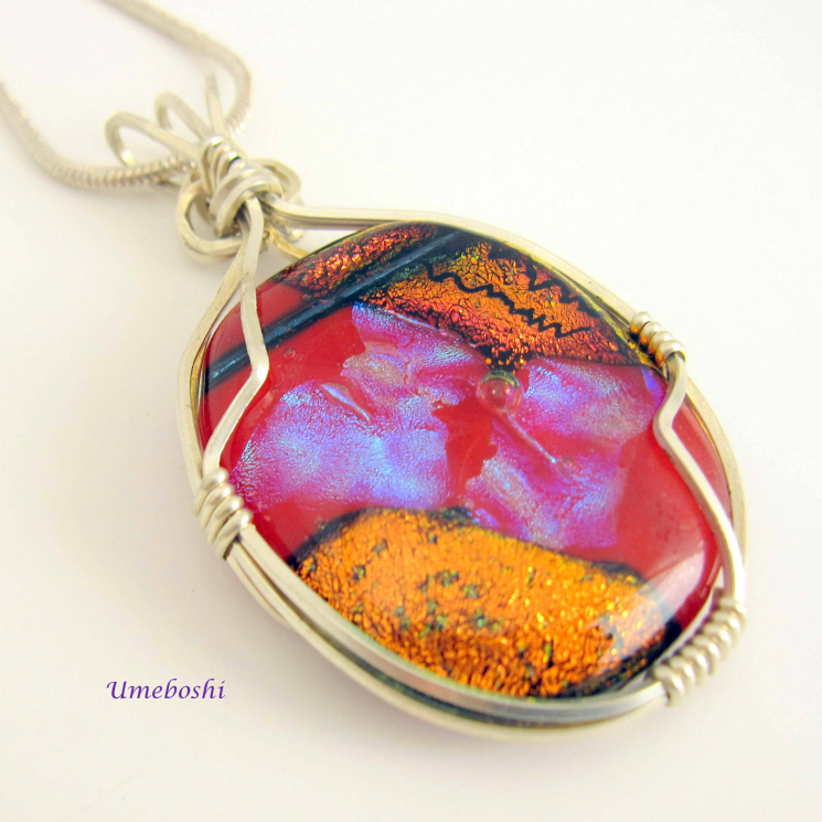 One-of-a-king dichroic glass and silver pendant