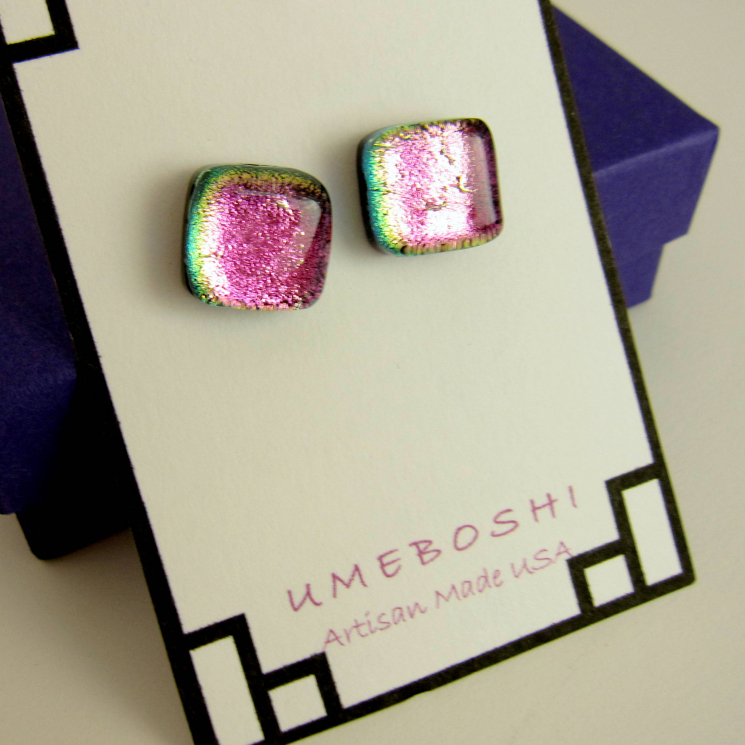 Dichroic fused glass post earrings