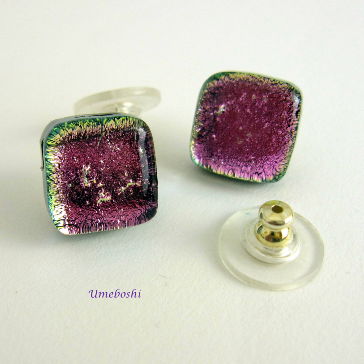 Handmade dichroic glass earrings