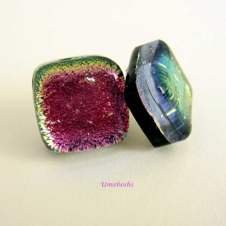 Pink and green dichroic glass post earrings