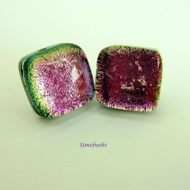 Watermelon dichroic glass studs