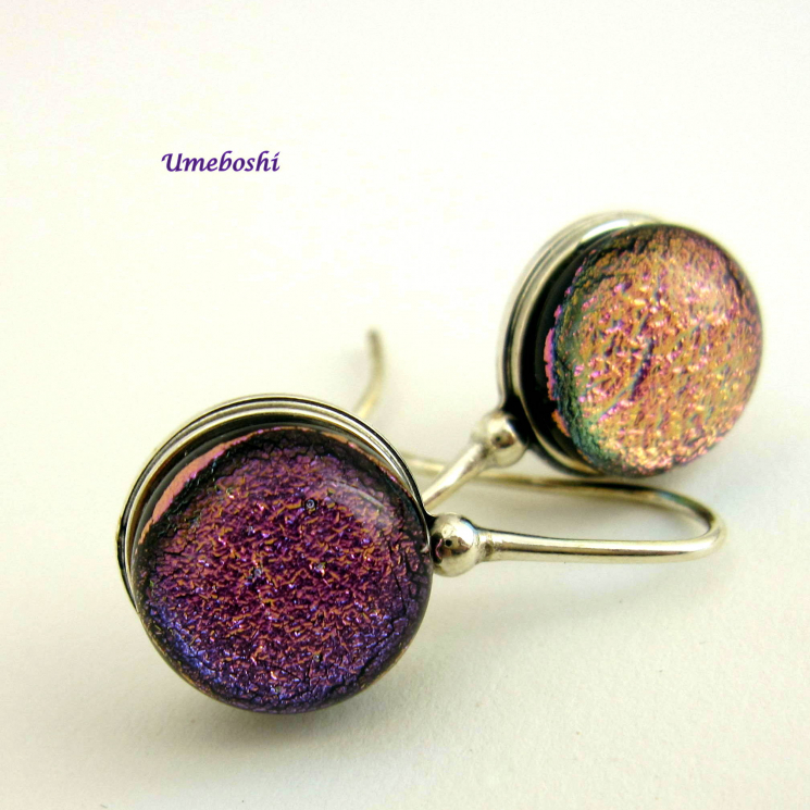 Pink-purple dichroic fused glass earrings on sterling silver findings