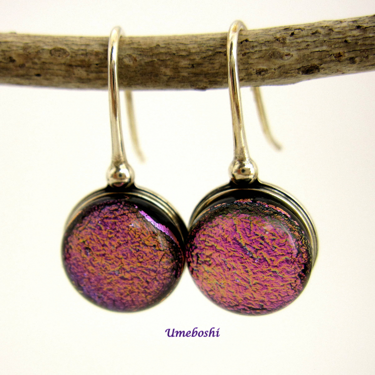 Pink dichroic glass earrings by Umeboshi Jewelry Designs