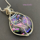 Dichroic Glass Wire Wrapped Pendant by Umeboshi Jewelry Design