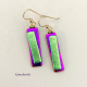 Razzle Dazzle Colorful Dangling Dichroic Fused Glass Earrings
