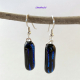 Deepest Blue Dangling Dichroic Fused Glass Handmade Drop Earrings