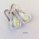 Clear Dichroic Glass Dangle Earrings