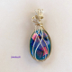 """Coral Reef"" Argentium Sterling Silver Wire Wrapped Dichroic Pendant"