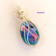 Handmade Dichroic Glass Wire Wrapped Pendant
