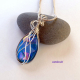 Blue Argentiun Sterling Silver Wire Wrapped Pendant
