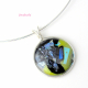 Argentium Sterling Silver Wire Wrapped Multi-Colored Dichroic Glass Cabochon Pen