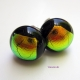 dichroic fused glass stud earrings round, black and gold