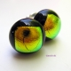 Round dichroic glass black and gold cabochon post earrings