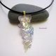 Clear Rainbow Colors Dichroic Fused Glass Pendant with Gold Plated Heart Bail