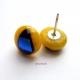 Bright Yellow and Blue Glass Post Earrings