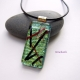 Kyoto Pond Handmade Dichroic Fused Glass Jewelry Pendant with  Streaks