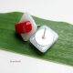Handmade Fused Glass Red and White Stud Earrings with Sterling Silver Posts