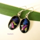 Fused glass argentium sterling silver wrapped dangle earrings